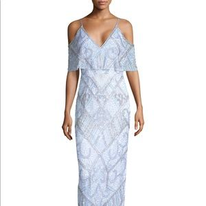 AIDAN MATTOX Cold Shoulder Beaded Gown Size US 4